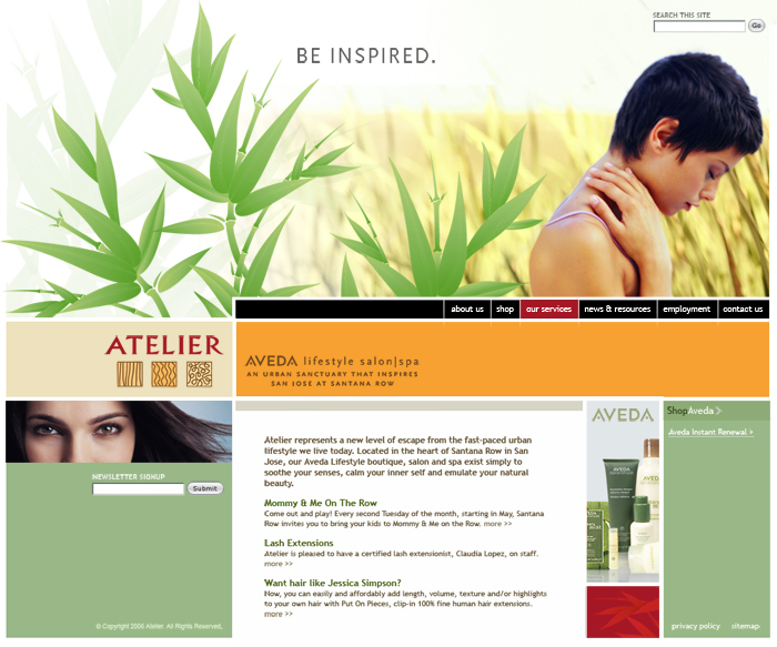 Atelier Aveda Home Page Screenshot