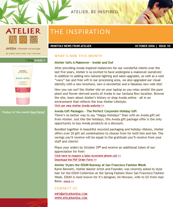 Atelier Aveda Email Newsletter Design Screenshot