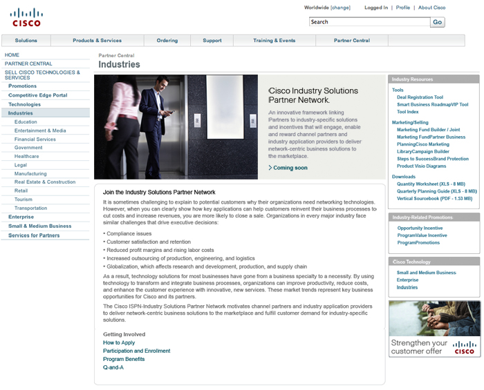 Cisco Systems Partner Central Landing Page