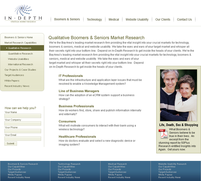 In-Depth Strategic Market Research Website Sub Page Screenshot
