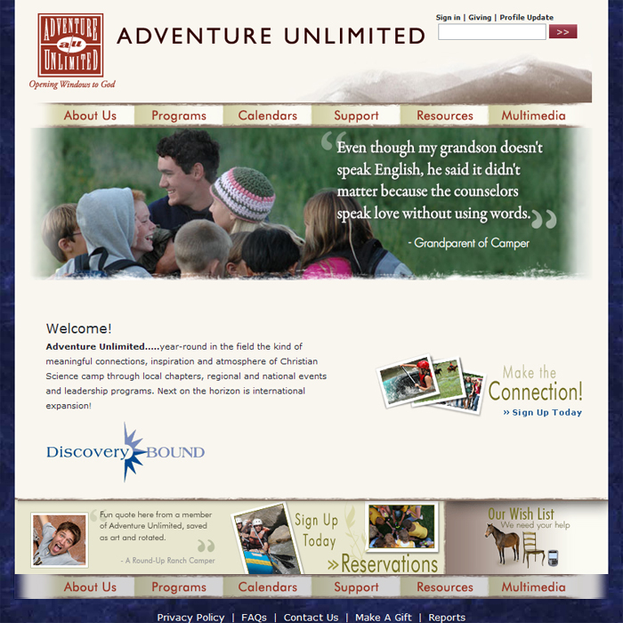 Adventure Unlimited Home Page Screenshot