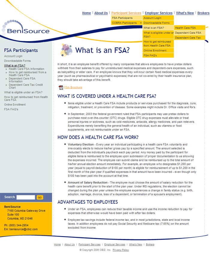 BeniSource Internal Page Screenshot