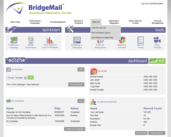 BridgeMail System Home Page Screenshot