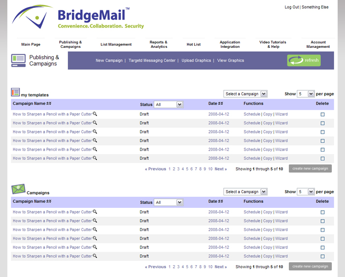 BridgeMail System Publisher Page Screenshot