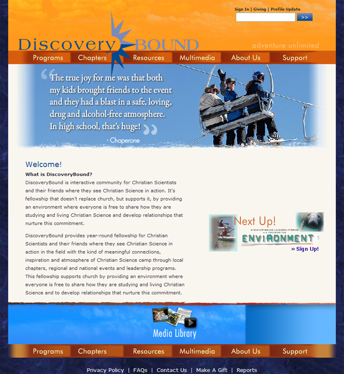 DiscoveryBound Home Page Screenshot
