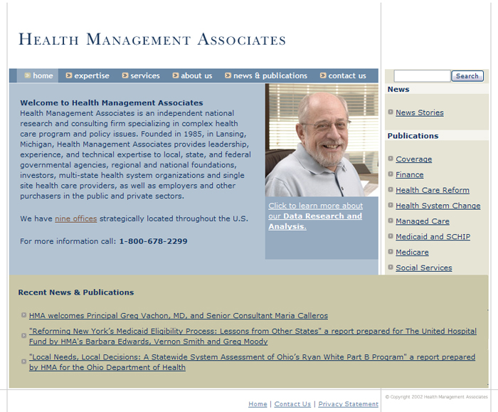 Health Management Associates Home Page Screenshot