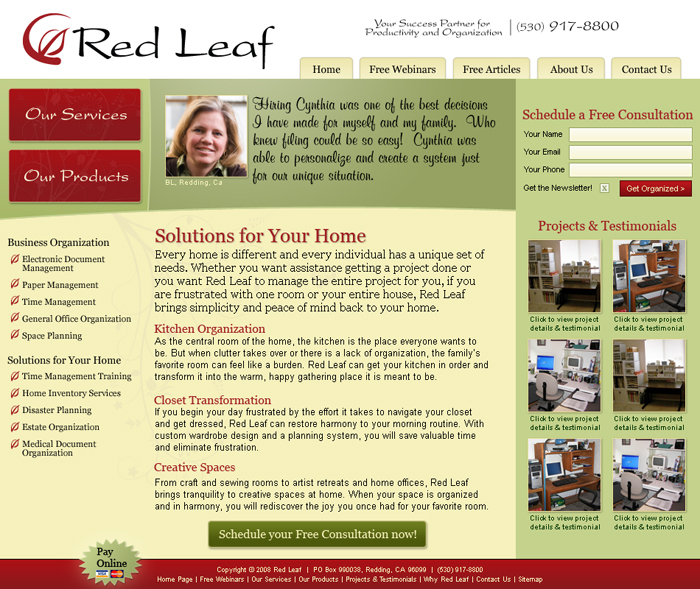 Red Leaf Website Sub Page Screenshot