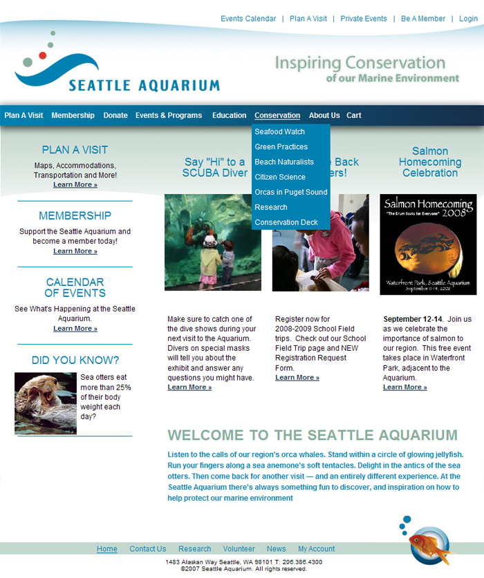Seattle Aquarium Home Page Screenshot